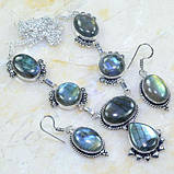 Ожерелье с лабрадором. Красивое ожерелье с камнем лабрадор в серебре. Индия!, фото 4