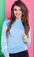 Свитшот женский размер 42-44; 46-48 цвет голубой сетка, трикотаж двунитка,