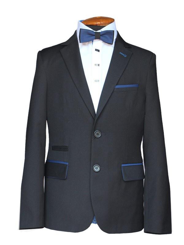 """Школьный черный костюм для худенького мальчика 128 рост """"Сорбона"""" в мелкую клетку"""