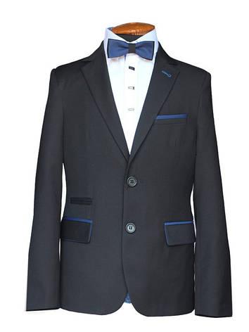 """Школьный черный костюм для худенького мальчика 128 рост """"Сорбона"""" в мелкую клетку, фото 2"""