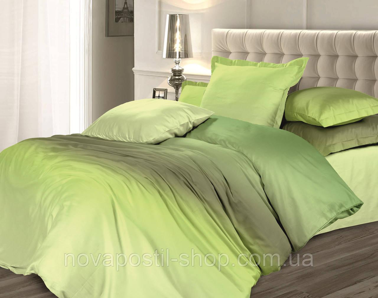 Оливковый сорбет, однотонное постельное белье омбре из сатина