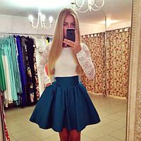 """Платье """"Лиана"""" короткое с гепюром 48"""