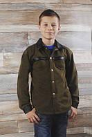 Детская теплая рубашка трехнить начес + кожзам (от 5 до 10 лет)