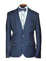 """Подростковый школьный костюм для мальчика """"Барселона"""" приталенный (узкач) синий в широкую клетку"""