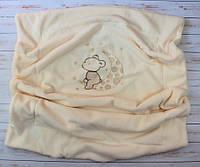 Двойной плед одеяло с вышивкой  75Х100 см (вельсофт+флис) Мишка на месяце