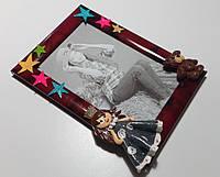 Фоторамка с декором ручной работы 10х15 см Принцеса и Медведь, фото 1