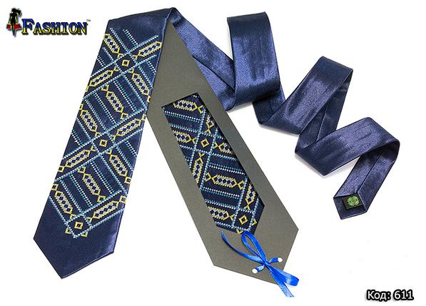 Синя краватка вишита Павло, фото 2