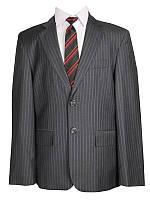 Детский школьный костюм для мальчика светло-серый в широкую полоску