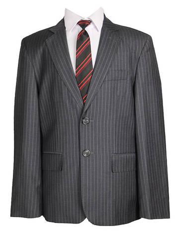 Детский школьный костюм для мальчика светло-серый в широкую полоску, фото 2