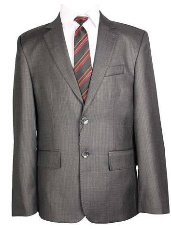 Шкільний костюм для хлопчика 146 зросту сірий в дрібну смужку, фото 2