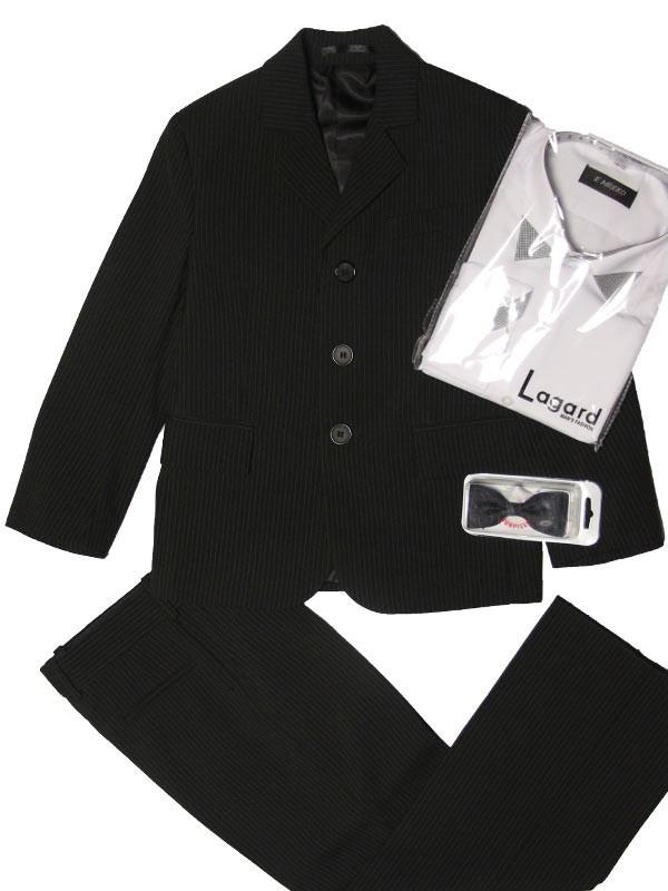 Школьный костюм для мальчика 104-116 рост черный в мелкую светлую полоску