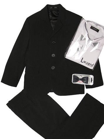 Школьный костюм для мальчика 104-116 рост черный в мелкую светлую полоску, фото 2