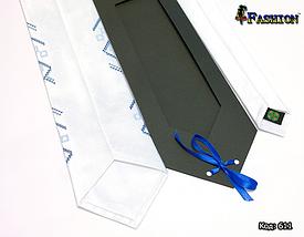 Вышитый белый галстук Павел, фото 2