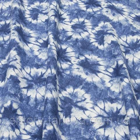 Декоративная ткань для штор, абстракция, бело-синий