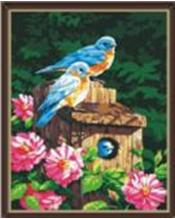 """Картина по номерам 40*50  """"Птички в скворечнике"""" 161"""