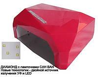 SUN Diamond гибридная светодиодная лампа UV/LED 36 W для ГЕЛЯ и ГЕЛЬ-ЛАКА многогранник , сенсор красная.