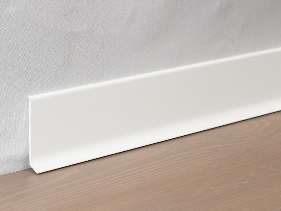 Металлический плинтус Profilpas Metal Line 90/6 крашеный матовый алюминий, белый RAL9010 10х60х2000 мм.
