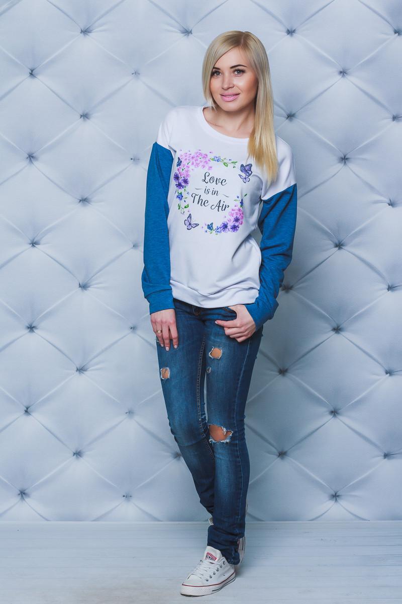 Кофта женская с печатью джинс