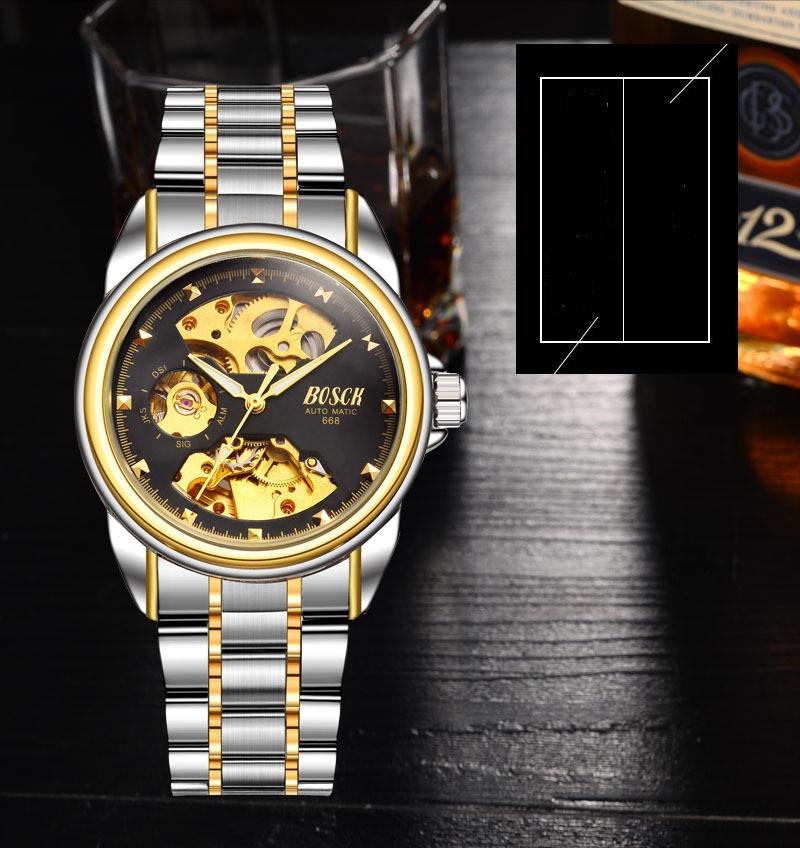 Мужские часы Bosck Механические с автоподзаводом, водонепроницаемые Black