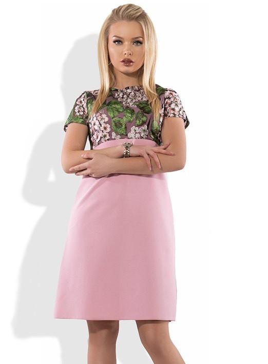 Розовое летнее платье с вышивкой Д-1085