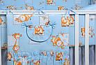 """Постель для новорожденных 8-ми элементов """"Жирафы и бегемотики"""" голубого цвета, № 144, фото 3"""