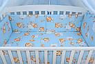 """Постель для новорожденных 8-ми элементов """"Жирафы и бегемотики"""" голубого цвета, № 144, фото 4"""