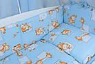 """Постель для новорожденных 8-ми элементов """"Жирафы и бегемотики"""" голубого цвета, № 144, фото 6"""
