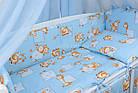 """Постель для новорожденных 8-ми элементов """"Жирафы и бегемотики"""" голубого цвета, № 144, фото 2"""