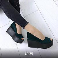 Зеленые туфли замшевые на платформе 11219 (ЯМ)