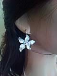 Набір біжутерії під срібло з блакитними квітами та різнокольоровими каменями, кольє і сережки, фото 5