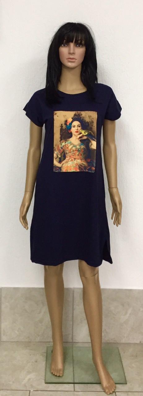 Платье-туника из хлопкового трикотажа с коротким рукавом и нашивкой с накатом 44-54 р