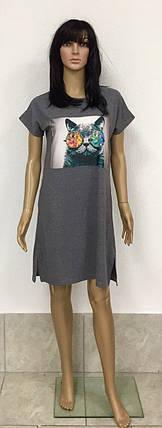 Платье-туника из хлопкового трикотажа с коротким рукавом и нашивкой с накатом 44-54 р, фото 2