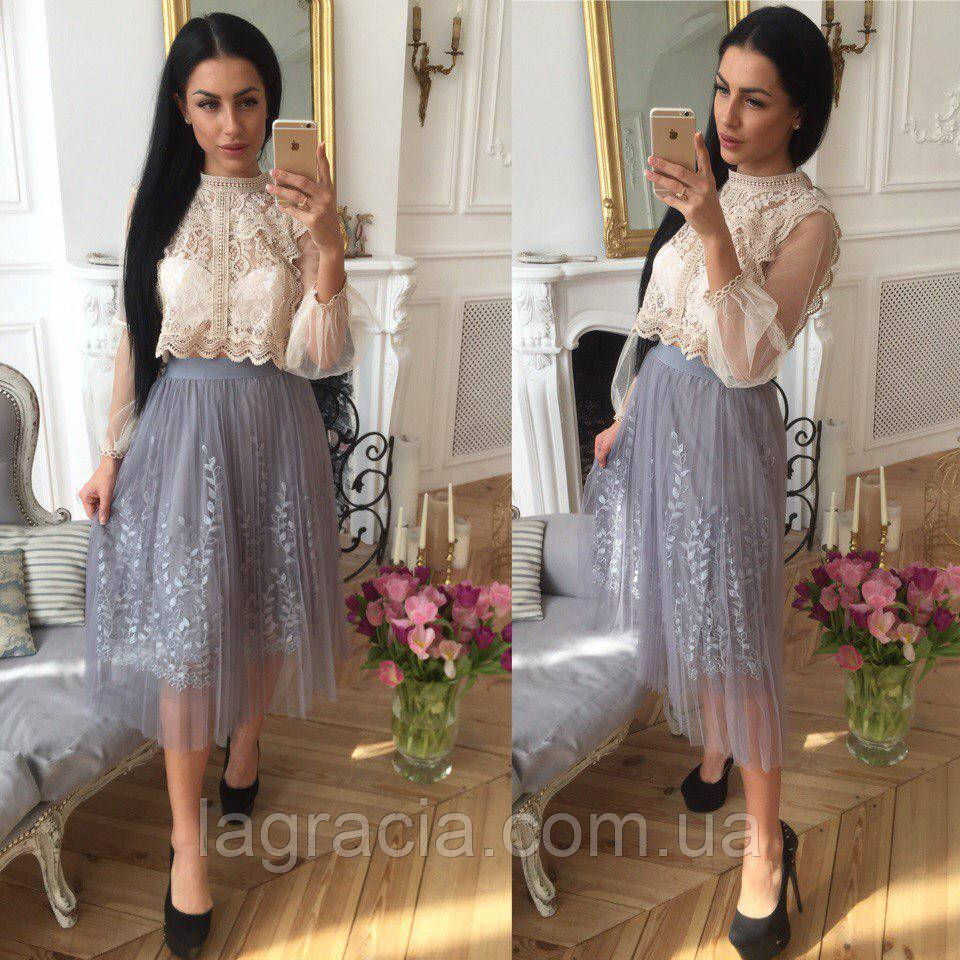 Легкая летняя фатиновая юбка