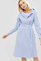 Полосатое хлопковое платье с поясом из основной ткани (Itan crd)