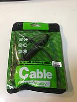 Аудио-кабель AUX 3.5 jack M/M (ткань) 2 м