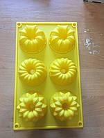 Форма силиконовая Ассорти цветочное со втулкой планшет 6шт