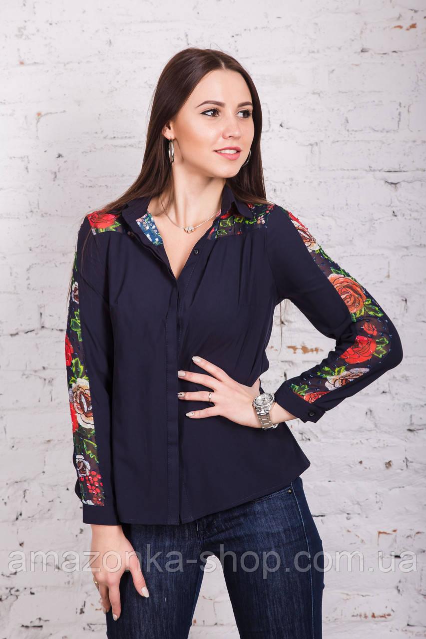 Женская блуза с вышивкой весна-лето 2018 - розочки - (код бл-161)