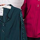 Женская блуза батал с вышивкой весна-лето 2018 - цветки - (код бл-163), фото 2