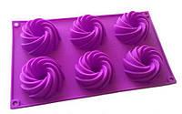 Форма силиконовая Cпирали маленькие со втулкой планшет 6шт, фото 1