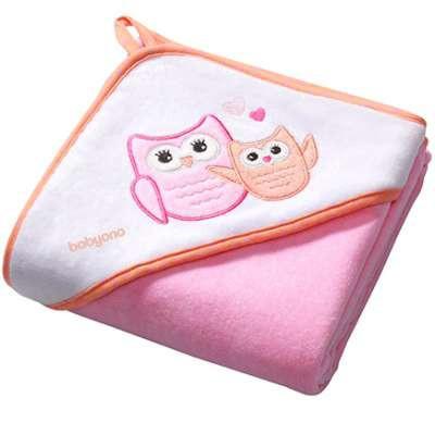 Полотенце с капюшоном BabyOno Сова, 100х100 см, розовый (138/01)