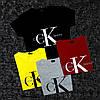 Женская футболка CK, серая, красная, желтая, черная