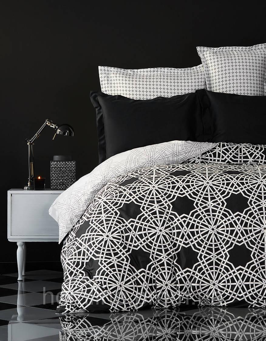 Постельное белье Karaca Home сатин Creantes черное евро размер