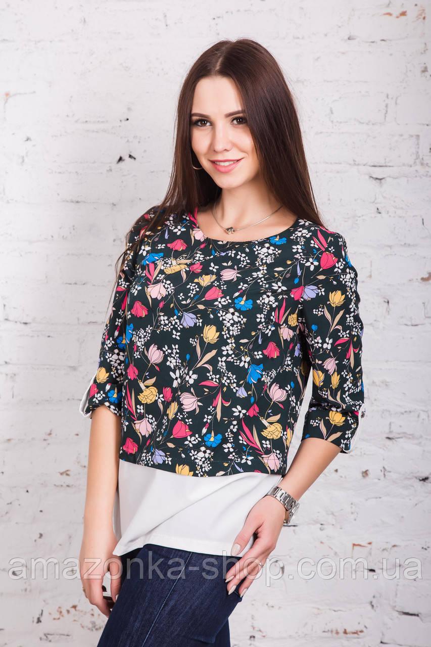 Цветочная женская блузка весна-лето 2018 - (код бл-169)