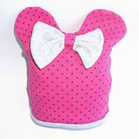 Детская демисезонная шапка с ушками для девочки