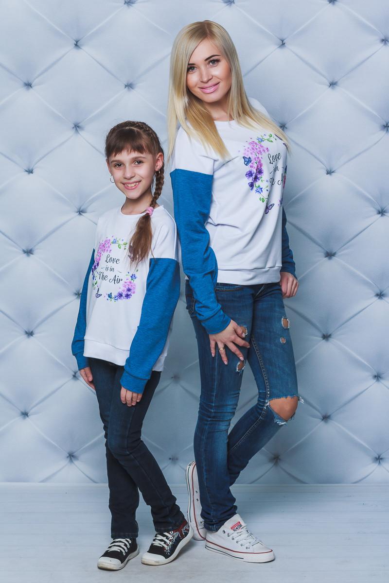 Кофта для девочки с печатью джинс