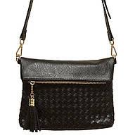 Женская плетеная сумка через плечо 5511(черная)