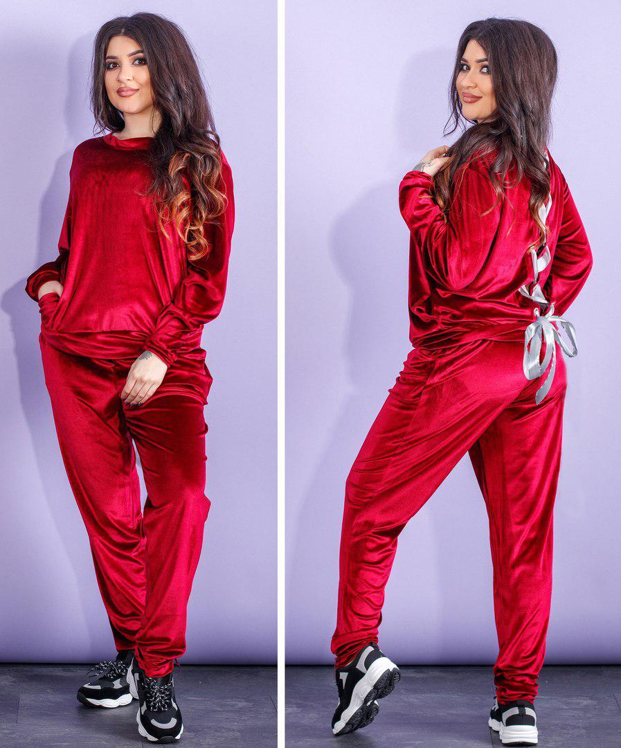 Женский спортивный костюм батал, бархат, р-р 50-52  54-56 (бордовый ... 5a35a4353e7