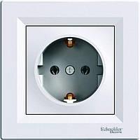 Розетка с заземления белая Schneider Electric серии Asfora