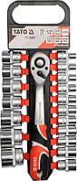 Набор головок торцевых с трещоткой 1/2, 19 пр. Yato CrV (YT-38681) 8-32 мм 19 шт.