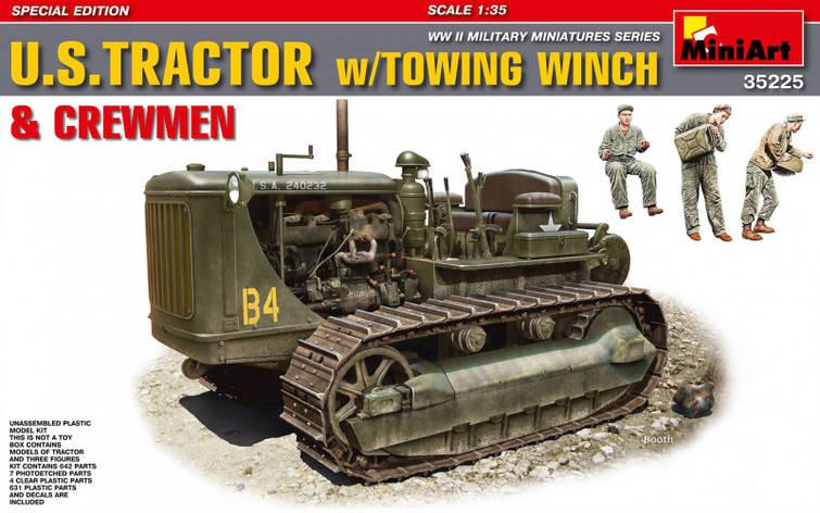 Американский тяжелый трактор с буксирной лебедкой и фигурами экипажа. 1/35 MINIART 35225, фото 2